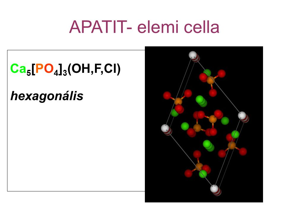APATIT- elemi cella Ca5[PO4]3(OH,F,Cl) hexagonális